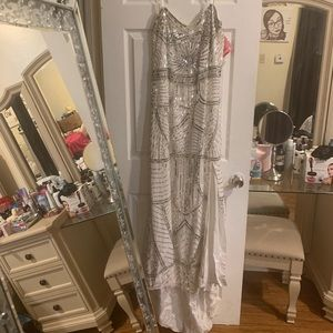 Plus Size Shail K White Beaded Gown